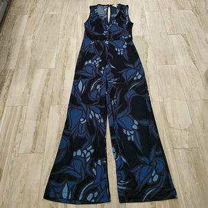 L H&M jumpsuit, blue floral print
